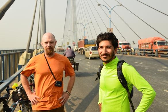 Mithun on our tour of the city