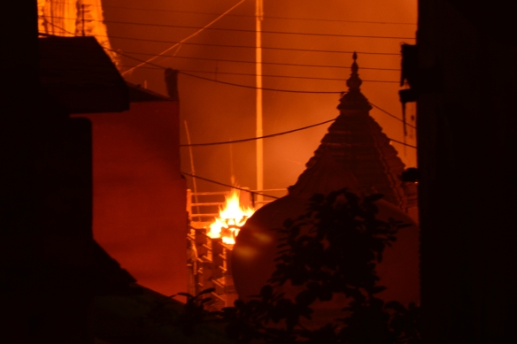 the flames of the burning ghat