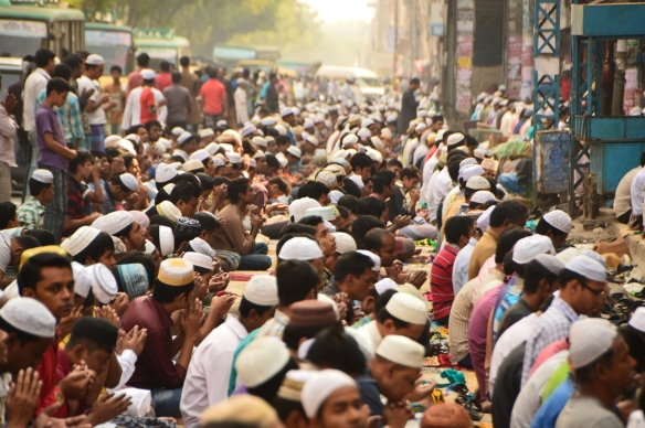 Friday prayers spill into the streets. 'City of Mosques' has not enough for its population